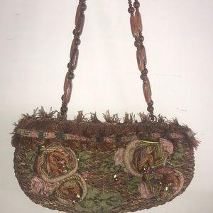 Mary frances straw beaded handbag new no tags 14x7